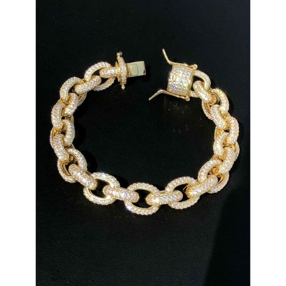 6f08162ad40 Harlembling Accessories | Mens Iced Out Hip Hop Rolo Bracelet 14k ...
